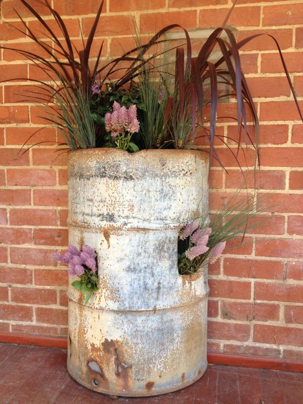 rusted steel Planter box.