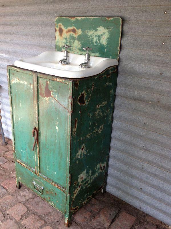 Industrial steel vanity unit with old basin