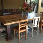 recycled timber dining table steel legs