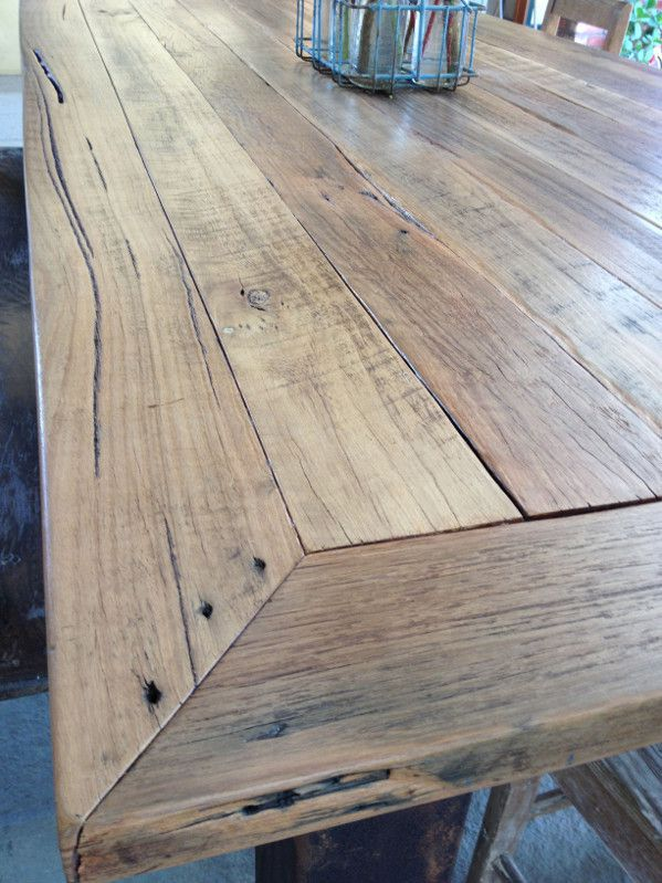 Reclaimed timber dining table top.
