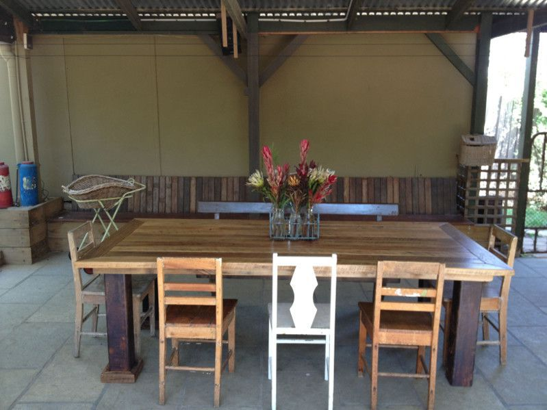 rustic Timber Table with Industrial Steel Legs