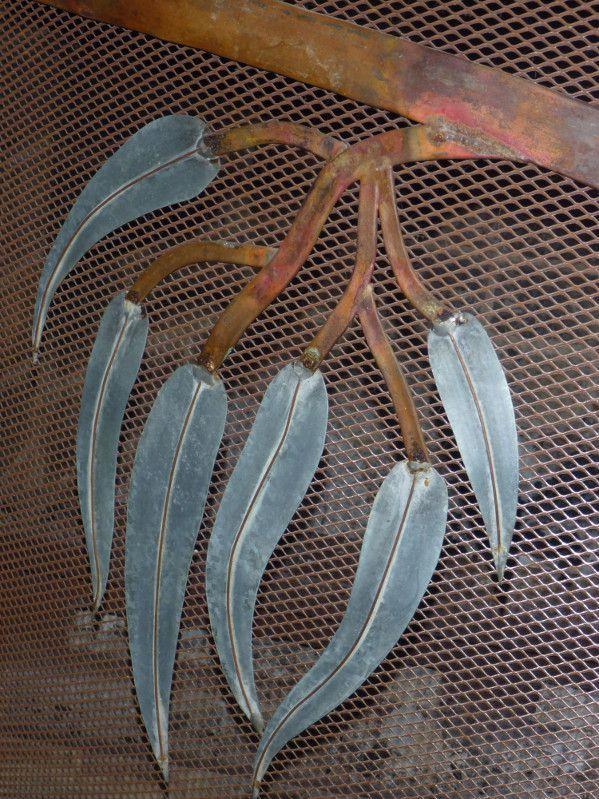 metal gum leaves art