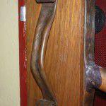 Hand crafted copper door handle.