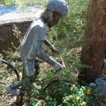 Copper and lead original cyclist garden ornament statue.
