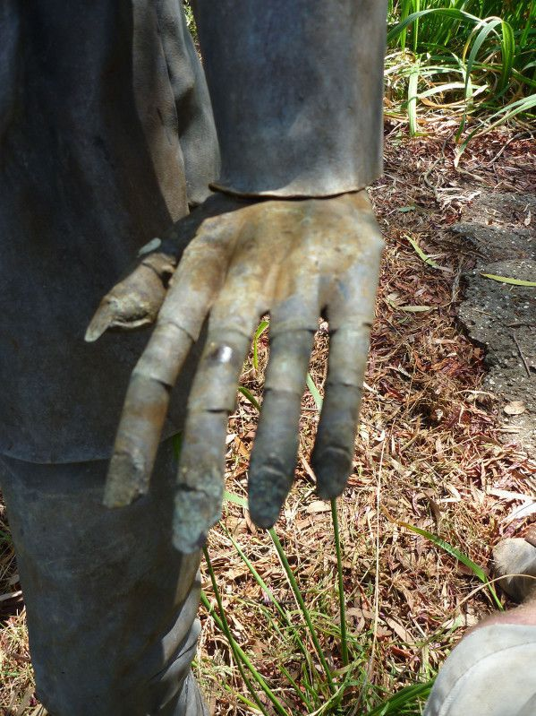 Hand detail of lead garden statue.