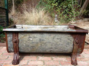 rustic vintage Iron bath with claw feet