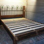 recycled timber and iron bed