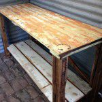 rustic timber island bench