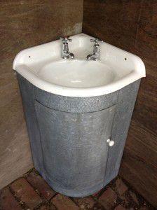 rustic corner vanity unit