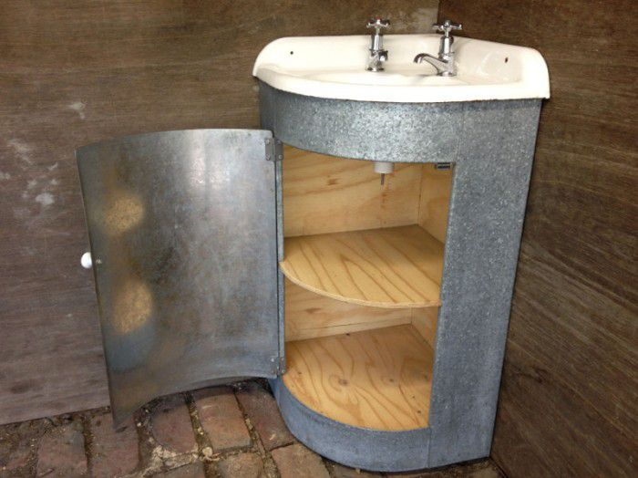 Galvanised Iron Corner Vanity Unit Old SoulOld Soul