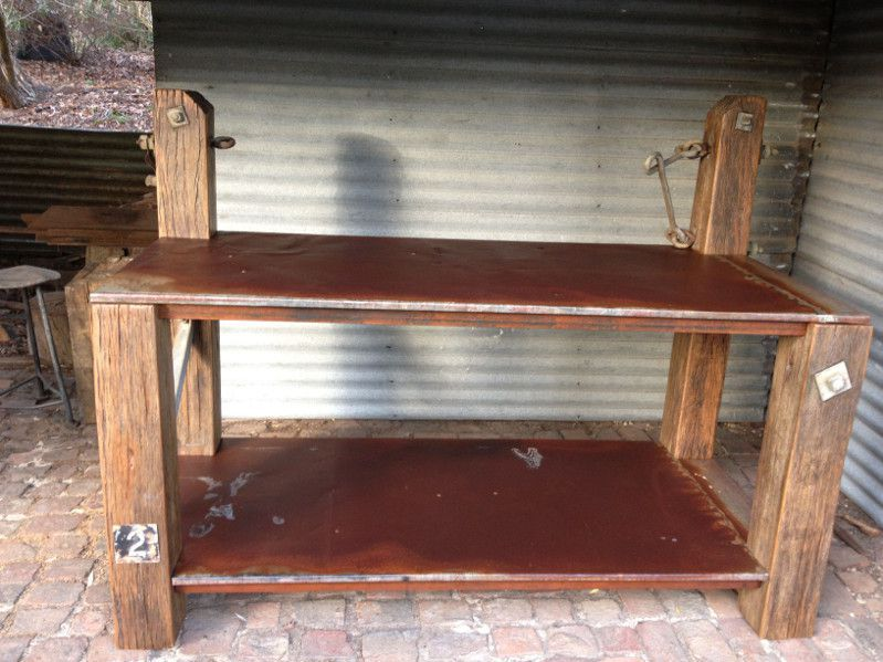 rustic industrial kitchen island bench
