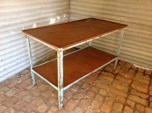 rustic industrial steel table