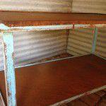 rustic industrial island bench
