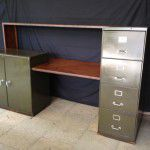 vintage industrial reception desk