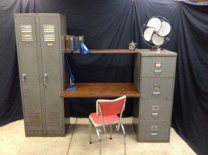 vintage industrial desk filing cabinets
