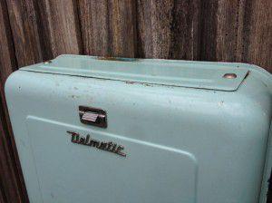 green vintage toilet cistern