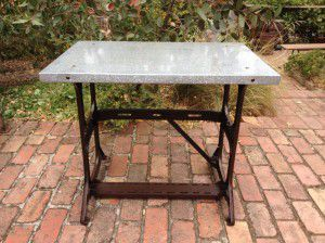 vintage industrial display table
