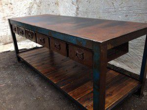 vintage industrial work bench