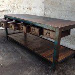 vintage industrial island bench