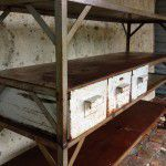 vintage industrial shelving